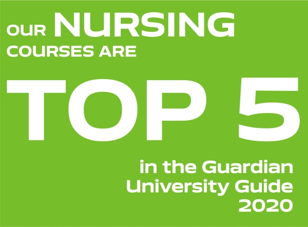 Our Nursing courses are top 5 in the Guardian University Guide 2020