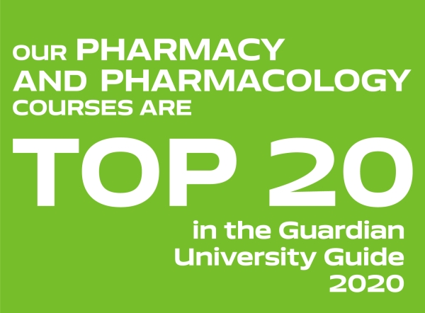 Our Pharmacy and Pharmacology courses are top 20 in the Guardian University Guide 2020