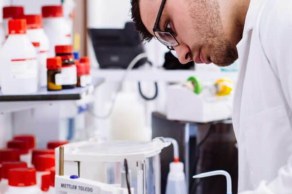 male biomedical science student in the lab