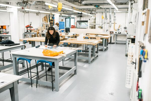 Female student using the Eldon Production Centre