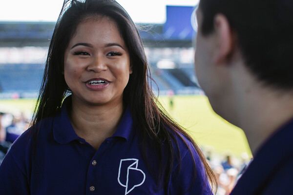 student ambassador talking in fratton park