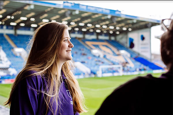 student at Portsmouth FC ground