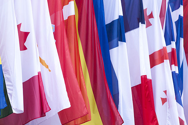 Drapes of flags from different countroes
