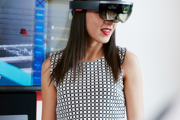 female student with a virtual reality headset on