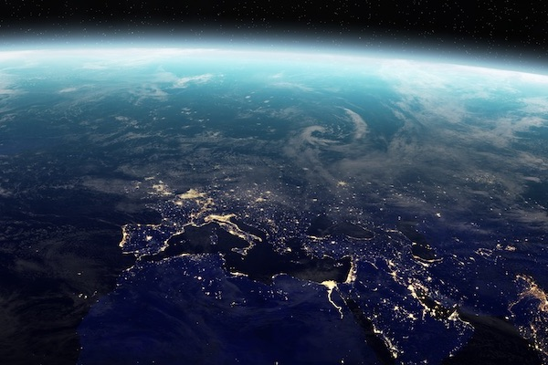 shot of europe from outer space at night