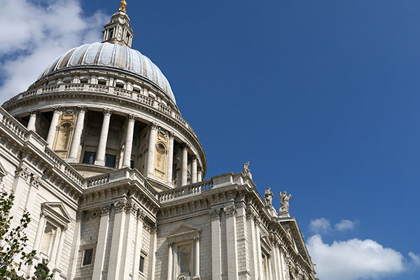 A bottom-up shot of St Paul's Cathedral