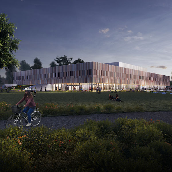 CGI image of outside Ravelin Sports Centre