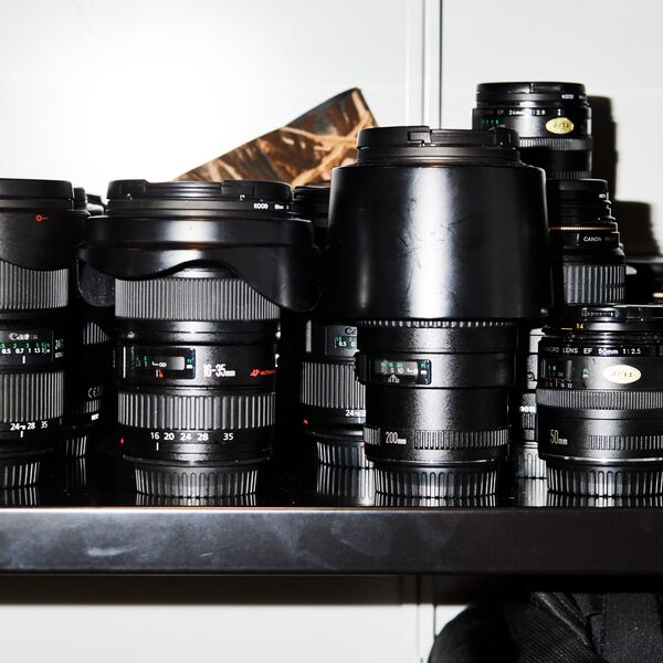 A row of camera lenses