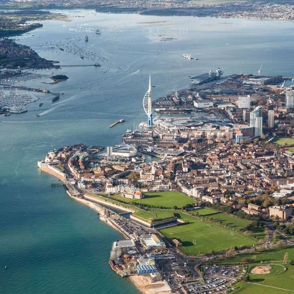 Arial photo of Portsmouth, showing the Spinnaker Tower, Gunwharf Shopping Centre and Southsea