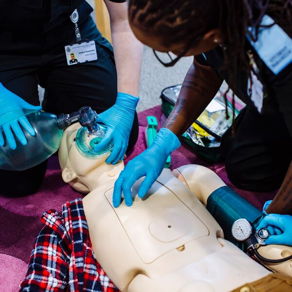 Paramedic students in the centre for simulation in health and care