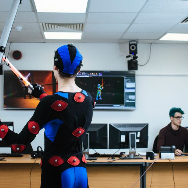 Student participates in the motion capture studio