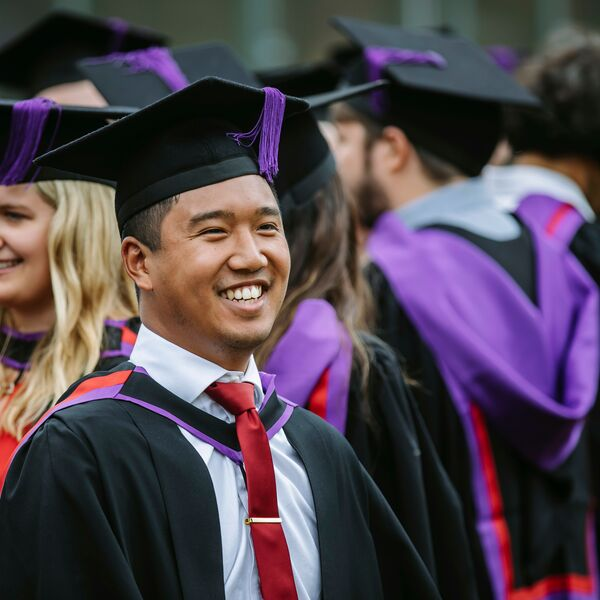 Male University of Portsmouth student celebrating graduation