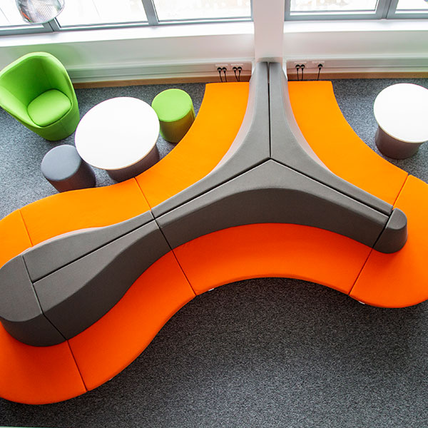 Colourful seating pods in Faculty of Technology, Portsmouth