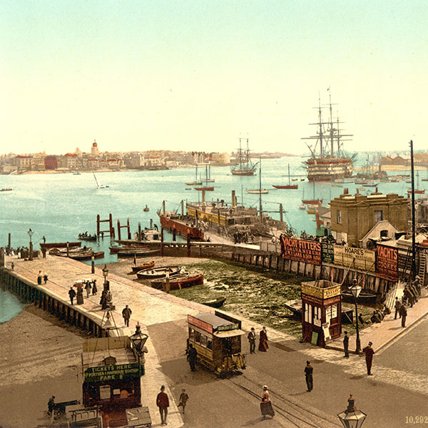 Historic image of urban port town