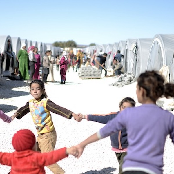Children playing in refugee camp