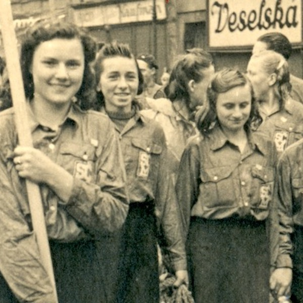 Young girls on a march in Eastern Europe