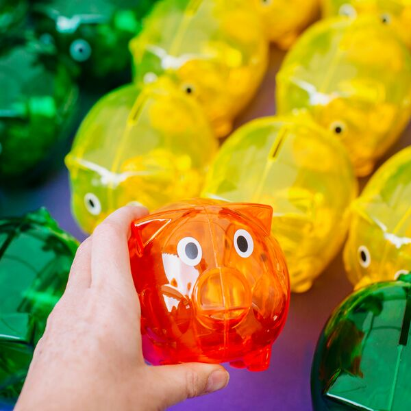 Plastic piggy banks for student saving