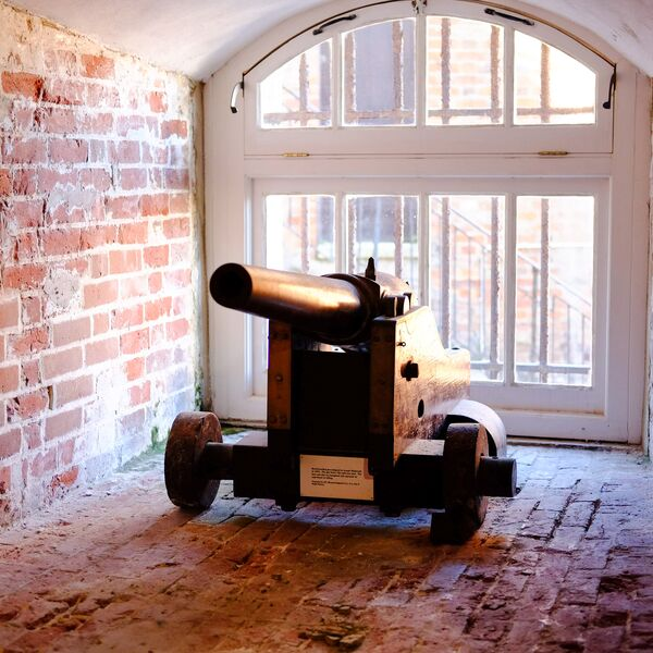 Cannon in brick castle in Southsea
