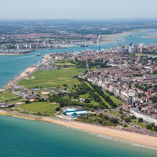 Aerial shot of Southsea beach and common