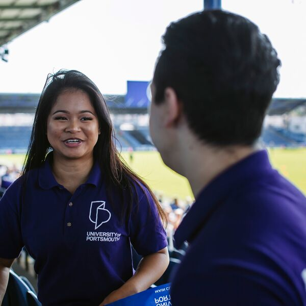 Female University of Portsmouth ambassador at Fratton Park