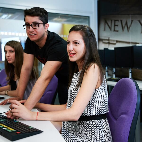 University of Portsmouth students working at computer