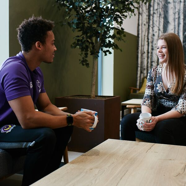 Male and female University of Portsmouth students in halls