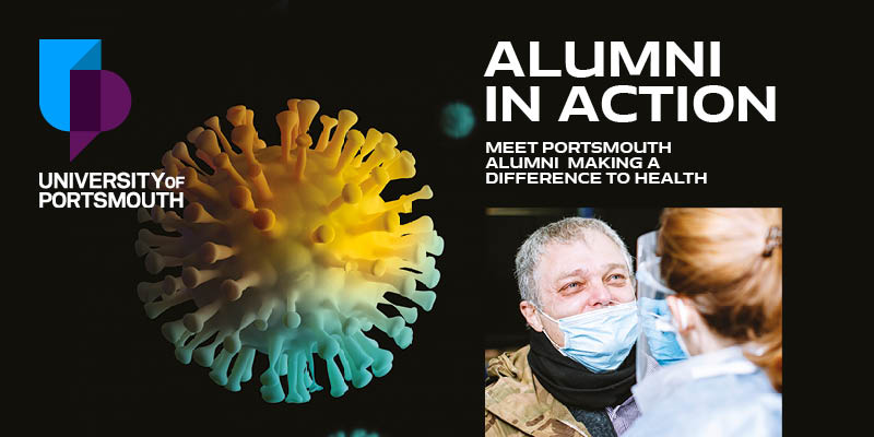 Front cover of Alumni in action alumni digest with male wearing a face mask