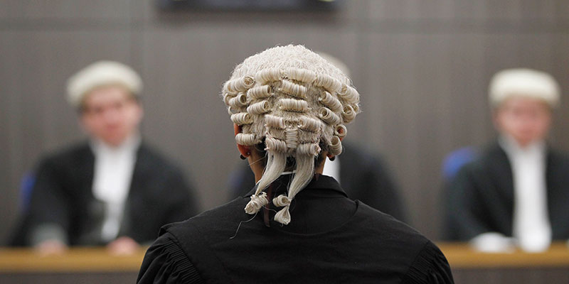 Student in wig practises in law court