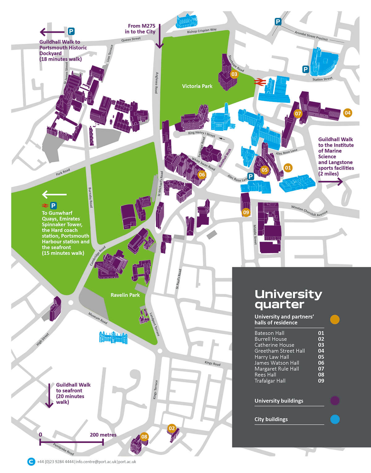 University of Portsmouth Quarter full campus map