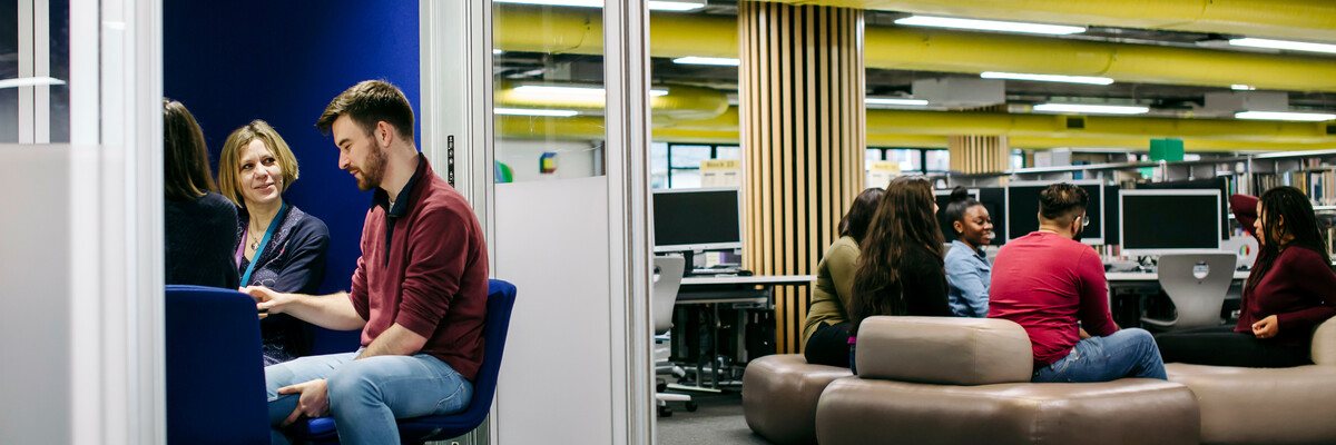 Students sat in the library