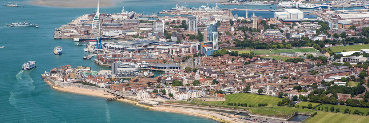 Aerial shot of Portsmouth