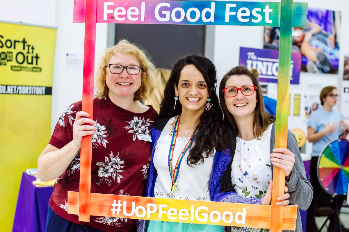 Women getting health and wellbeing support at the Feel Good Fest