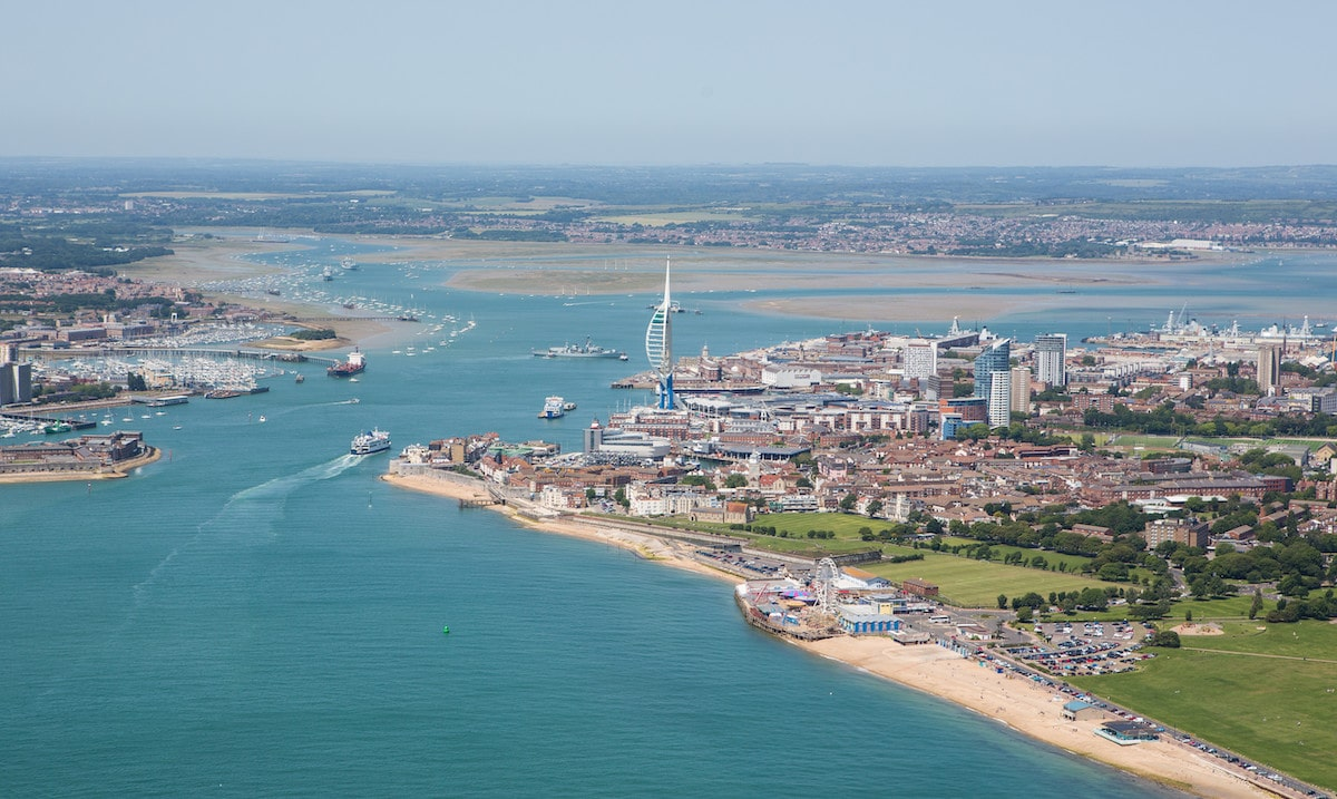 An aerial shot of the city of Portsmouth