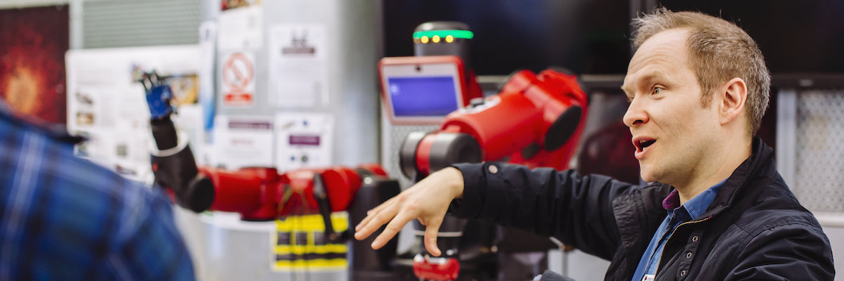 University of Portsmouth lecturer with robot