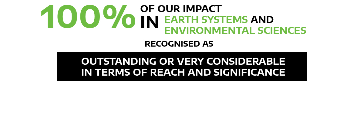100% our impact in earth systems and environmental sciences outstanding/very considerable in R&S