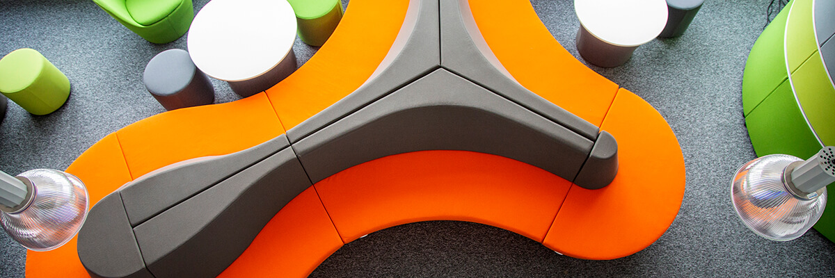 Colourful seating pods in Faculty of Technology