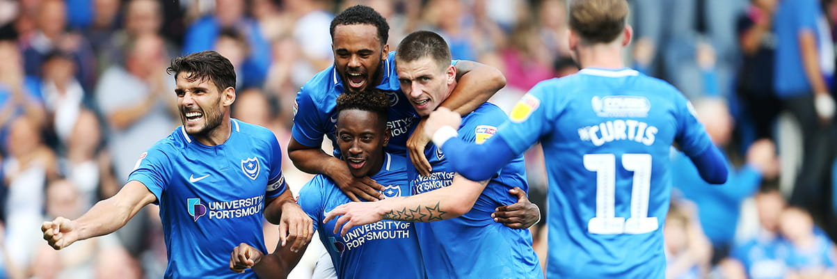 Portsmouth football club celebrates goal