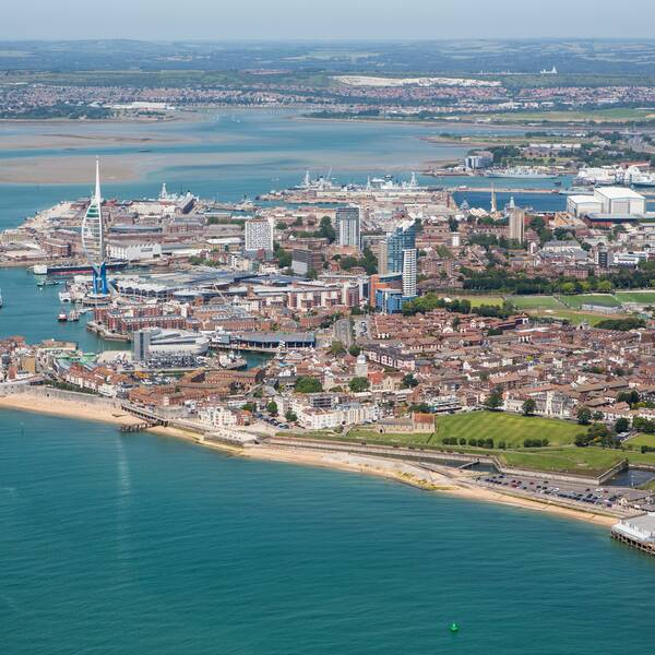 Aerial shot of Portsmouth harbour