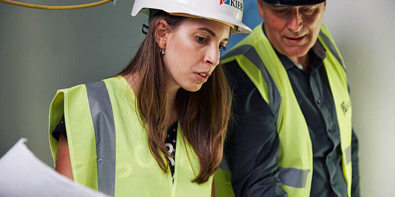 Civil Engineering student being mentored by employer