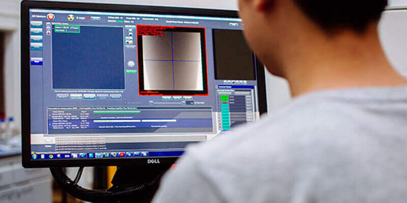 Learning at work Applied Computing student views digital microscopy software on computer screen