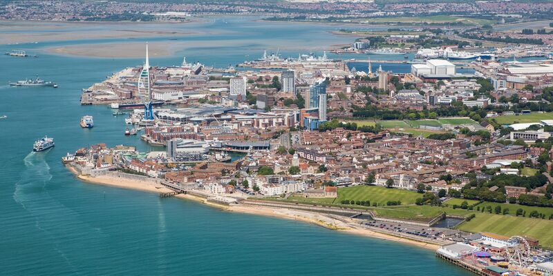 Aerial view of Portsmouth and Gun Wharf Quays