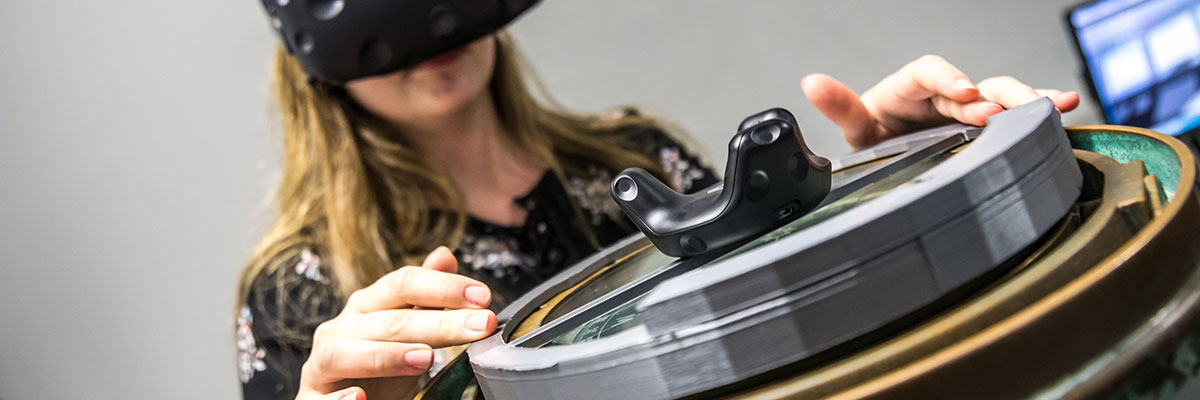 Computer games technology student uses VR technology
