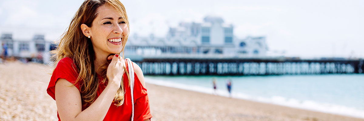 postgraduate student sitting on southsea beach