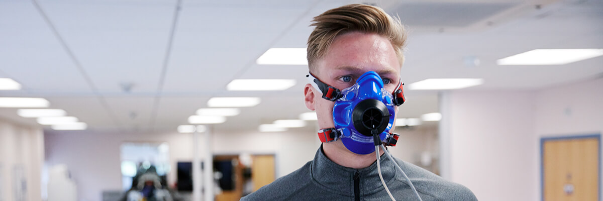 Human and applied physiology student with breathing gear