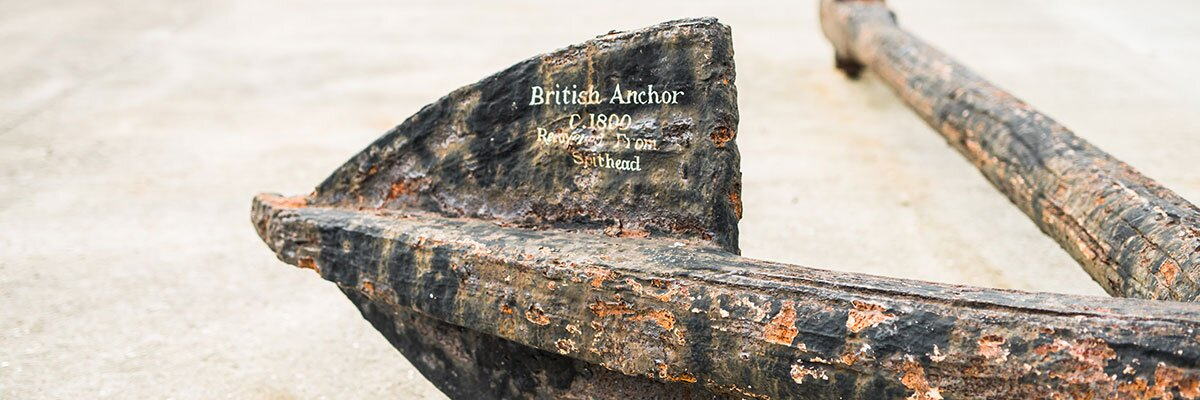 Naval anchor close up