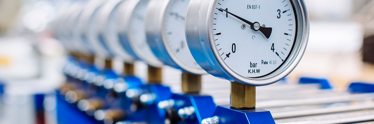 a row of pressure gauges