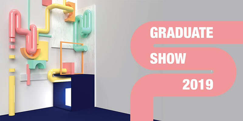 Graduate 2019 Show ident of multicoloured 3D pipes and geometric shapes, with a 2D pipe in the foreground reading the show name