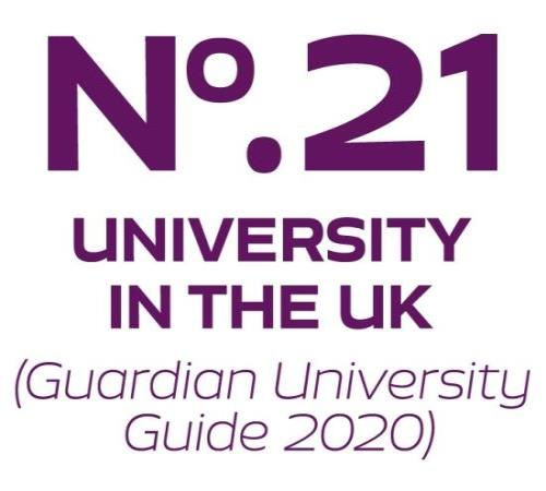 21st in the Guardian University Guide 2020