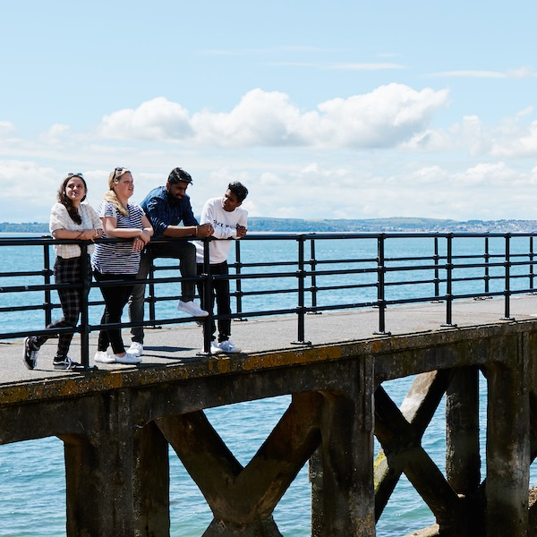 University of Portsmouth students at the seaside pier in Southsea