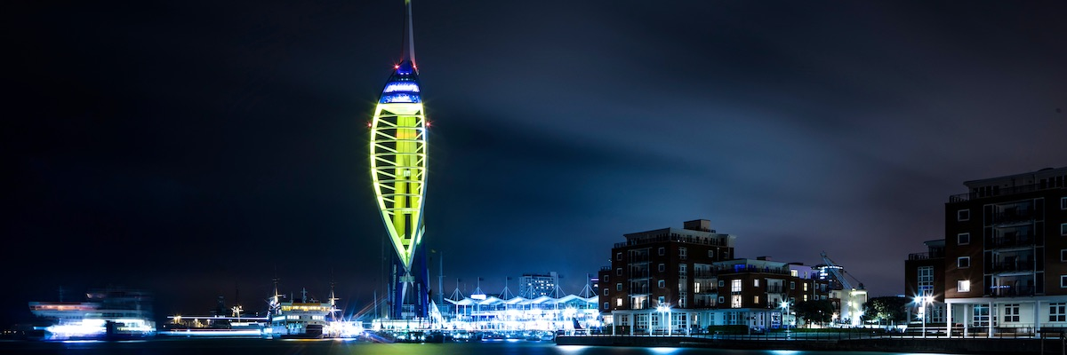 Gunwharf Quays, Portsmouth, lit up at night
